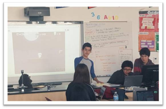 Presenting student created game in scratch